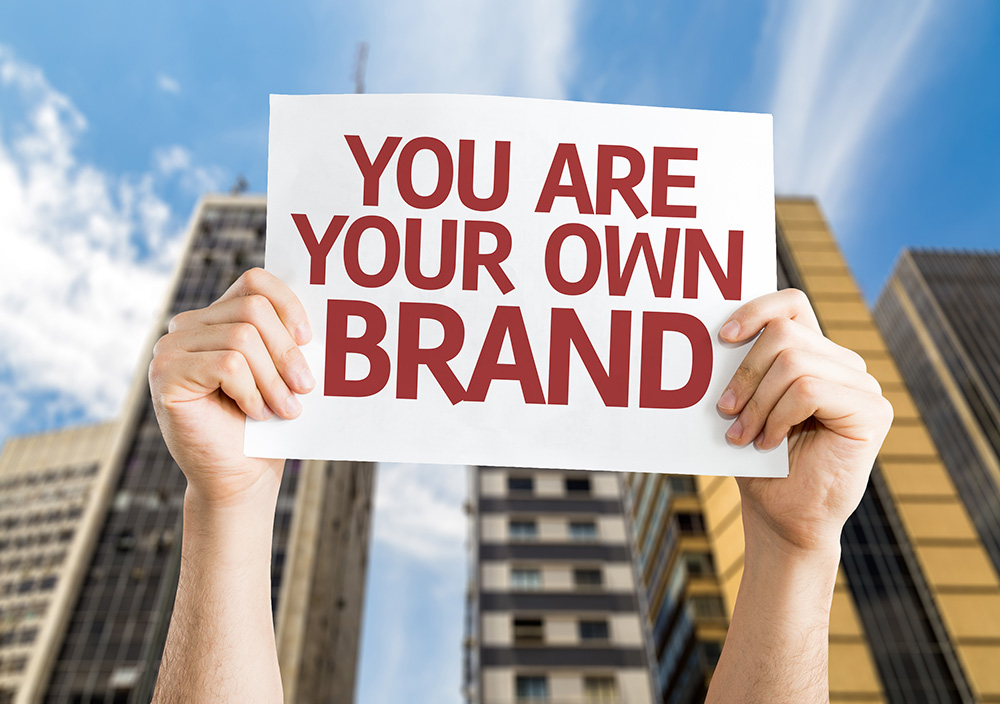 You are Your Own Brand card with a urban background