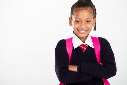 elementary school girl on white