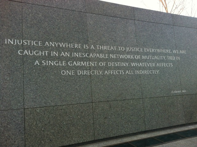 Injustice anywhere MLK
