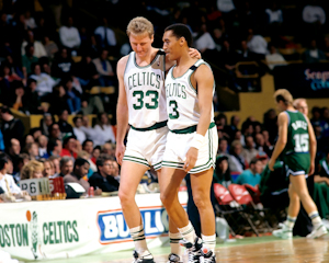 Boston Celtics Larry Bird and Dennis Johnson 1990